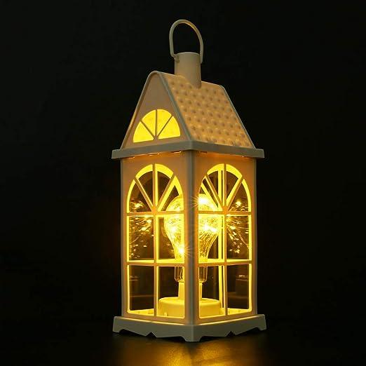 Vintage Linterna Noche Luces, Funciona con Pilas Huracán LED Vela Linternas, Marroquí Estilo Jardín Hogar Colgante Vela Linterna Lámpara Mesa para Exterior Patio/Árbol Navidad/Boda Fiesta Decoración: Amazon.es: Jardín