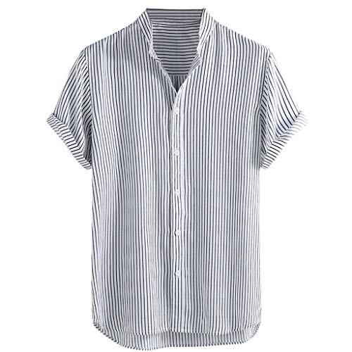 - Men's Stand Collar Stripe Shirt,Summer Short Sleeve Loose Buttons Casual Shirt for Party,Daily,Beach Black