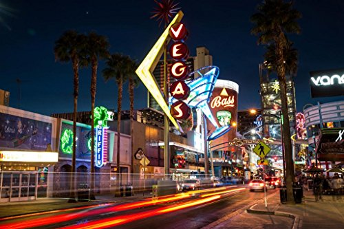 Downtown Las Vegas Nevada at Night Neon Signs Photo Art Print Mural Giant Poster 54x36 inch