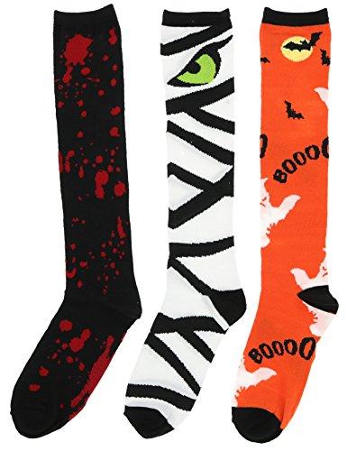 Boo! Women's Halloween Knee High Socks (3Pr), One Size (Ghosts, Mummy, Blood Splatter)]()