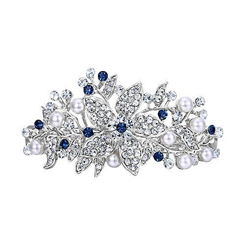 Hibiscus Wedding - EVER FAITH Austrian Crystal Bridal Hibiscus Cream Simulated Pearl Hair Clip Barrette Blue Silver-Tone