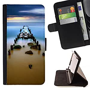 BETTY - FOR LG Nexus 5 D820 D821 - Misty Sea Pear Sunset - Style PU Leather Case Wallet Flip Stand Flap Closure Cover