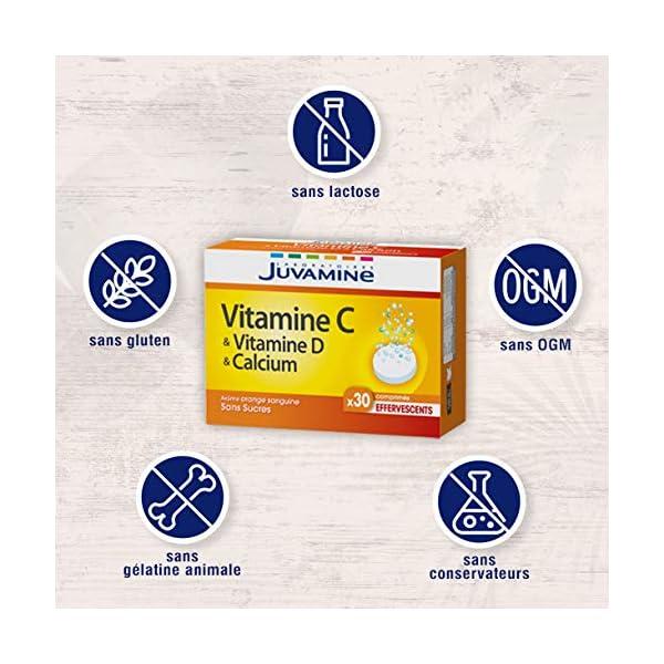 Juvamine – Vitamine C Vitamine D & Calcium, 30 Comprimés Effervescents