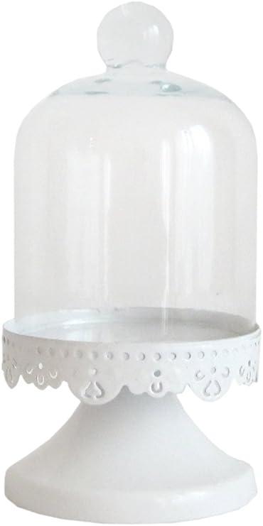 Lindo y campana de cristal en colour blanco y pie para masa de galletas o de moldes para magdalenas mini-para tartas con forma de campana extractora: Amazon.es: Hogar
