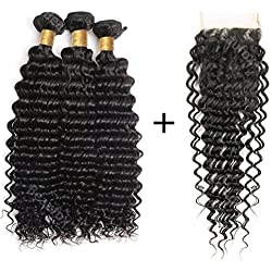 BEAUFOX Brazilian Hair Deep Wave 3 bundles With Lace Closure Virgin Hair Unprocessed Natural Color Can Be Dyed and Bleached (16 18 20 + 14, Natural Color) …