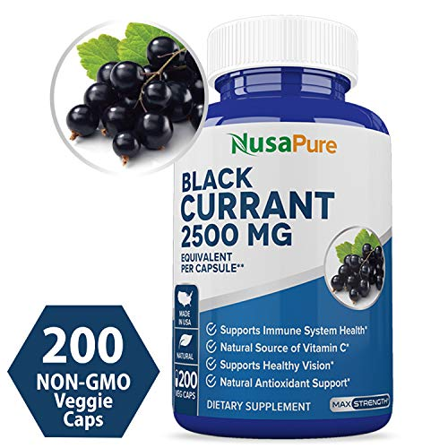 Black Currant Oil 2500 Mg 200 Veggie Capsules (Powder, 100% Vegetarian, Non-GMO & Gluten Free) Cold-Pressed Pure - Hexane Free - Regulates Hormonal Balance - 100% Money Back Guarantee!