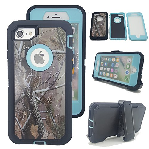iPhone 7 Camo Case, Kecko Defender Tough Armor Camo Tree Shockproof Impact Weather Resistant Hybrid Hunting Military Heavy Duty Case for iphone 7W/ Built-in Screen Protector Belt Clip - Light Blue
