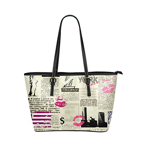 InterestPrint Vintage Patchwork of Newspaper Lips New York Leather Casual Tote Handbag Daily Bag for Women