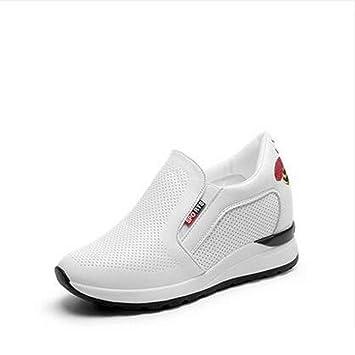 YSFU zapatillas Zapatillas De Cuña Blancas para Mujer Zapatos Casuales Zapatos De Mujer Zapatos Blancos Plataforma De Damas Zapatos Deportivos Transpirables ...