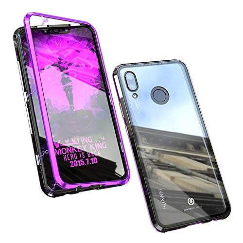 Huawei P Smart+ Case, UBERANT Metal Frame & Tempered Glass Back 2 in 1 Ultra-Thin Clear Luxury Scratch Resistant Shockproof Magnetic Adsorption Case ...