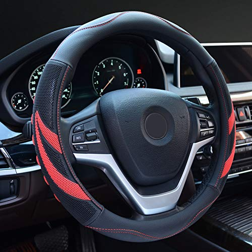 Alusbell Microfiber Leather Steering Wheel Cover Breathable Auto Car Steering Wheel Cover for Men Universal 15 Inches Red (2018 Mustang Gt Wheels)