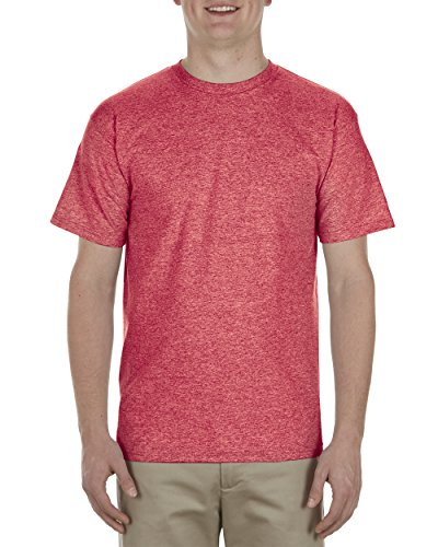 Alstyle Apparel AAA Men's Premium Super Soft Cotton Short Sleeve T-Shirt, Red Heather, (Red Super Soft T-shirt)