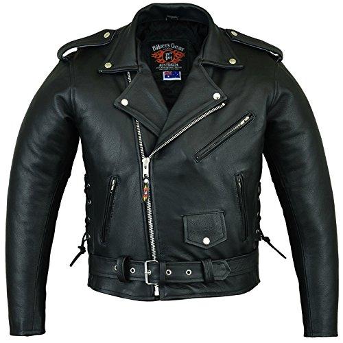 Bikers Gear Australia The Patrol Ladies Classic Vintage Brando Style Leather Harley Cruiser Jacket with CE 1621-1 Armour Lrg