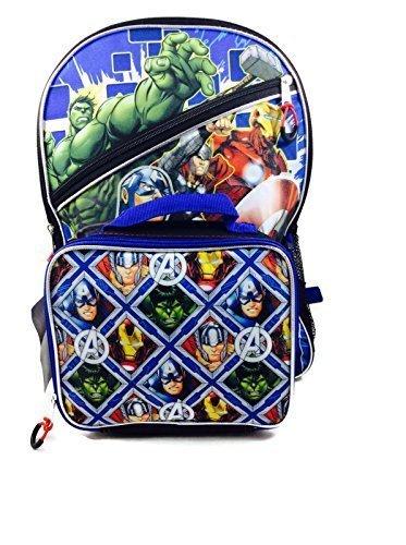 Marvel Avengers Large Hulk, Superman, Thor, Ironman 16 Backpack & Lunch Tote ()
