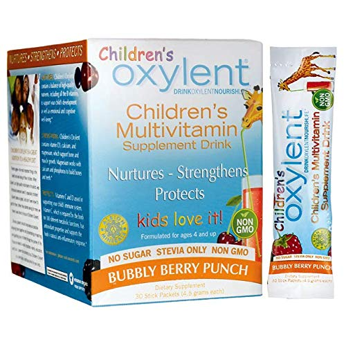 Oxylent Childrens Multivitamin Supplement Drink - Sugar-Free & Effervscent for Easy Absorption of Vitamins & Minerals for Cognitive Well-Being and Immune Support, Bubbly Berry Punch Flavor, 30 Count