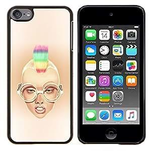 Qstar Arte & diseño plástico duro Fundas Cover Cubre Hard Case Cover para Apple iPod Touch 6 6th Touch6 (Rainbow Mohawk Sexy Girl)