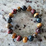 10mm Red Blue Yellow 3 Color Tiger Eye Round Beads Healing Stone Hand Made Bracelet