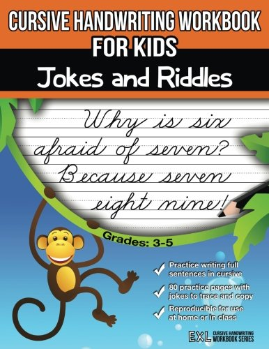 Cursive Handwriting Workbook for Kids: Jokes and Riddles cover