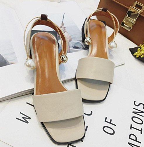 bequem Wild Schuhe apricot Wort quadratisches Kopf Schnalle Offene Schuhe YTx04q4w