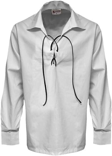 Tartanista - Camisa escocesa tipo jacobita/Ghillie para hombre - Blanco - M: Amazon.es: Ropa y accesorios