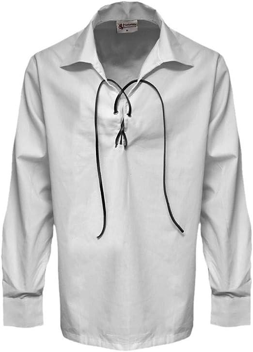 Tartanista - Camisa escocesa tipo jacobita/Ghillie para hombre - Blanco - L: Amazon.es: Ropa y accesorios