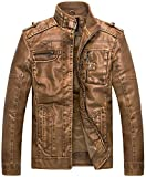 WantDo Men's Vintage Stand Collar Pu Leather Jacket, Camel US Large