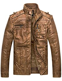 Wantdo Men's Vintage Stand Collar Pu Leather Jacket US X-Large Yellow
