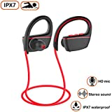 Sport Bluetooth Headphones by Bhuato, Wireless HD Stereo Earphones w/Mic, IPX7 Waterproof Sweatproof Earbuds Compatible Gym, Workout, Running and Swimming (Red)