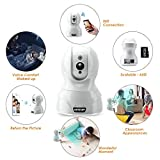 Baby Monitor Camera Wifi Security Camera - HD Cloud IP Camera, Pan & Tilt Control, WiFi/Ethernet, Two-Way Audio, Night Vision Home Security Camera System Free App (White, 720P)