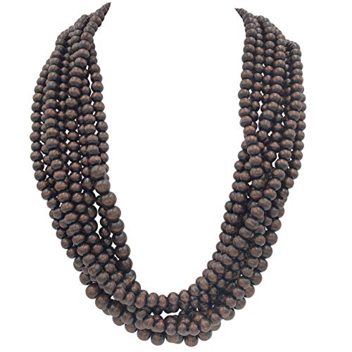 Gypsy Jewels 8 Row Layered Wood Beads Chunky Statement Necklace (Dark Brown)