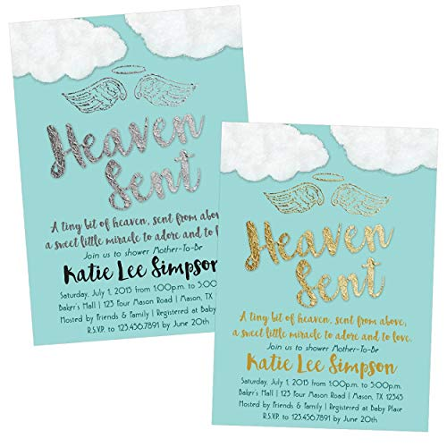 Heaven Sent Baby Shower Invitations Boy Religious