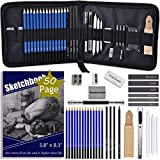 ARTOSA Drawing Pencils with Sketch Book 50 Pages, 35 Piece Sketch Pencils Professional Drawing Kit in Zipper Case, Sketching Art Set with Graphite Charcoal Sticks Tool for Adults Kids(All in One Case)