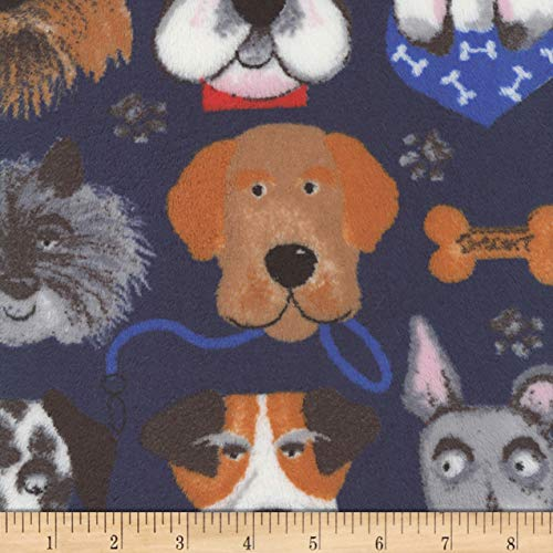 Mook Fabrics Plush Fleece Dog Faces Fabric, Navy, Fabric By The Yard