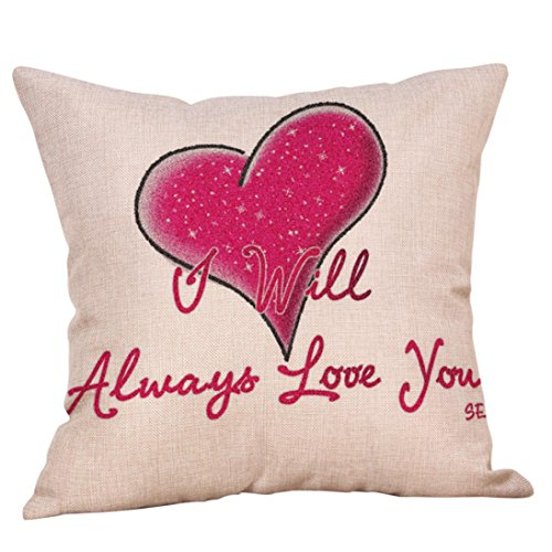 """Price comparison product image Pillows Covers, vmree 18X18"""" Happy Valentine's Day Throw Pillowcase Sweet Love Square Sofa Car Cushion Cover (F)"""
