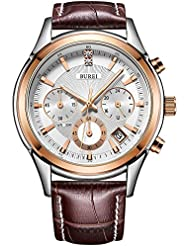BUREI Mens Elegant Chronograph Leather Watch Date Display Business Luxury Sport Quartz Analog Watch for Men