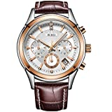 BUREI Men's Watch Rose Gold Chronograph Quartz Mineral Lens with Date and Brown Genuine Leather Strap