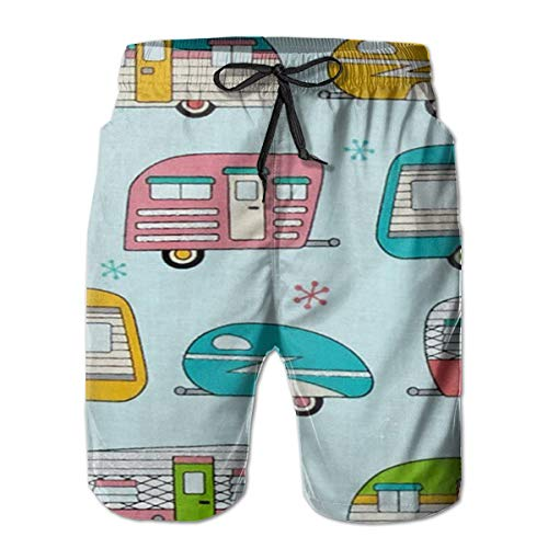 - On The Road Metallic Campers Men's Beach Swimming Trunks Boxer Brief Swimsuit Swim Underwear Boardshorts with Pocket