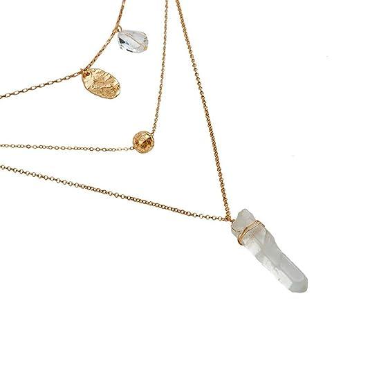 2216a89d6089 LuckyLy - Collares Largos de Mujer Moda Francis - Collares con Piedras Mujer  de 3 Capas - Diseño Moderno con Cuarzo