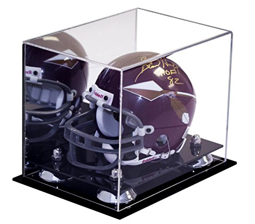 Miniature Football Display - Better Display Cases Mini Football Helmet Display Case (not Full Size) Mirror and Clear Acrylic Plexiglass with Silver Risers (A003-SR)