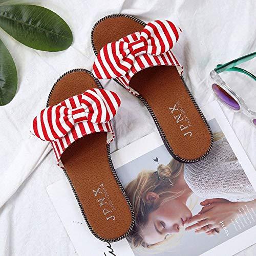 Alla Scarpe Basse Moda Wear Daily Beach Sandali on Rosso Pantofole Slip Shoe Casual Donna fpTxqaw