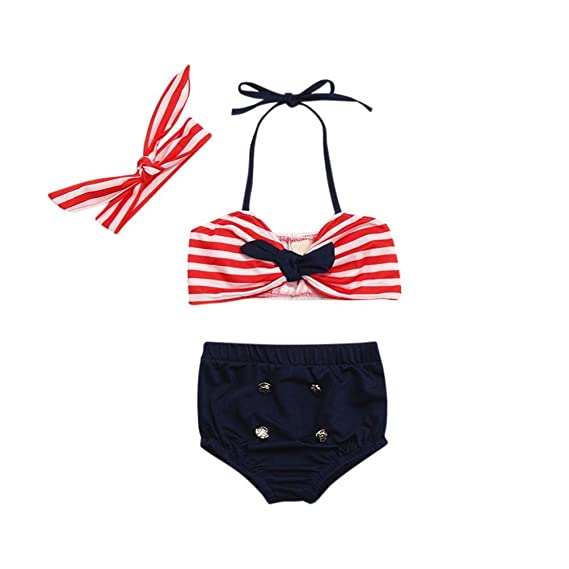 287efe7023bc7 Sunward Baby Girls  3 Pcs Bikini Sets Striped Halter Bra Top+Bottom+Headband
