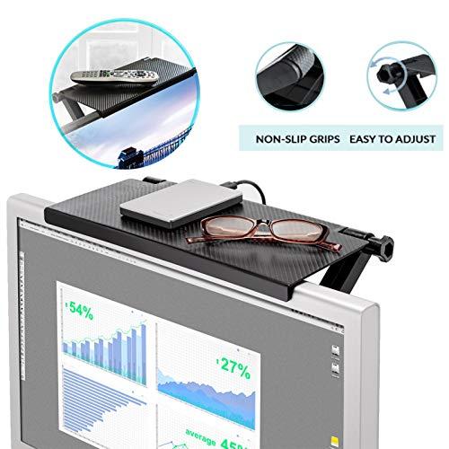 RONGYE Ripiano Superiore Schermo TV 13 /× 6,3 Pollici Ampia Piattaforma Ripiano portaoggetti Organizzatore ripiano Schermo Regolabile Supporto ABS per Monitor del Computer TV