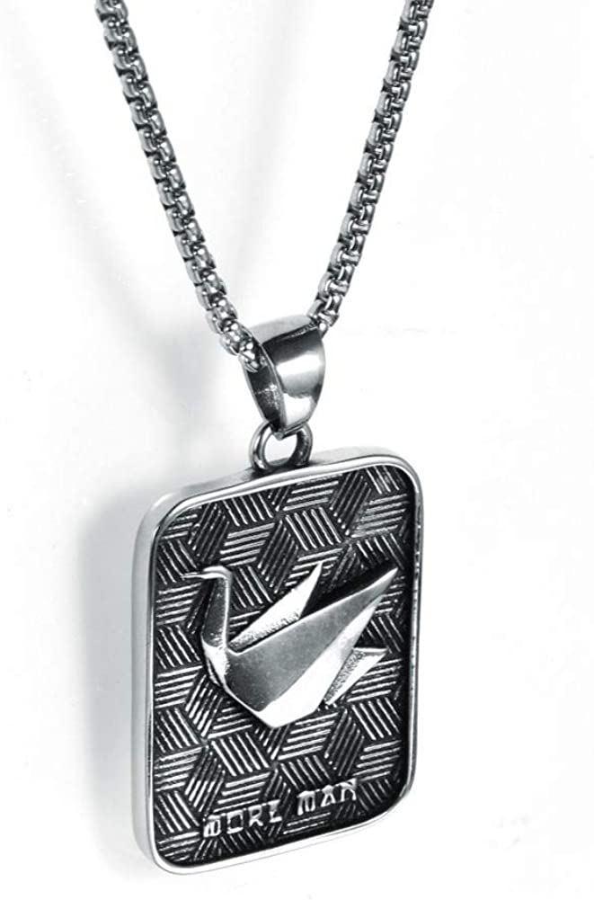 Wyanger Stainless Steel Paper Crane Pendant Simple Necklace Titanium Steel Jewelry