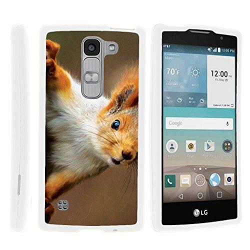 TurtleArmor | LG Escape 2 Case | LG Logos Case | LG Spirit Case LTE [Slim Duo] Slim Compact 2 Piece Hard Snap On Case Grip Matte Coating on White Animal Design - Red Squirrel