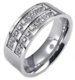 Epinki Men's Stainless Steel Wedding Engagement Ring Bands Cubic Zirconia Size 13(only one size left)