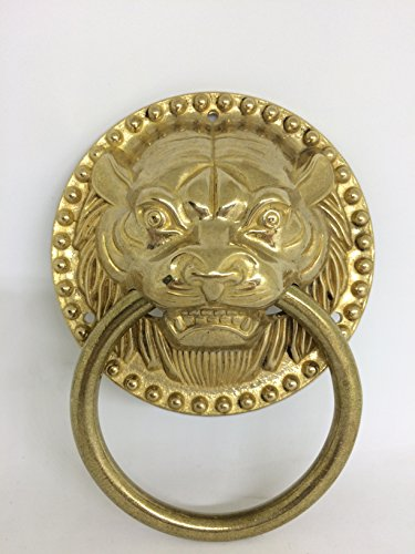 Gargoyle Ball (Ranbo best tiger Door Knocker copper Finish Authentic Renovator's Supply Rust Resistant Finish for tiger head knocker antique gate/beast of pure copper antique handle (4-7/10 inch Bright copper))