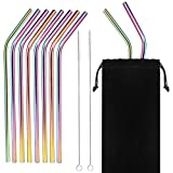 Set of 10 - Stainless Steel Drinking Straws, 6 mm Metal Bent Straw for Tumbler Yeti or Ozark Trail Ramblers Cups, with 2 Cleaning Brushes - And Cary Bag, Rainbow