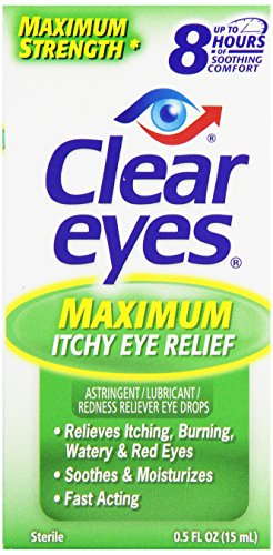 Clear Sterile Relief Redness Eyes (Clear Eyes Seasonal Relief Astringent/Lubricant Redness Reliever Eye Drops, 0.5 oz)