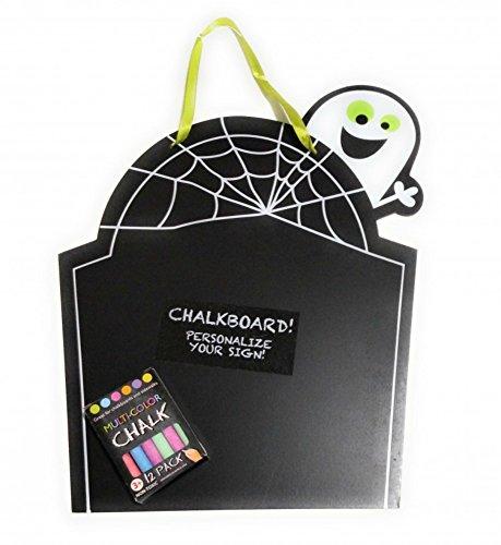 (Halloween Chalkboard Set with Chalk Ghost Tombstone Menu Sign Grave Decoration Blackboard 2)