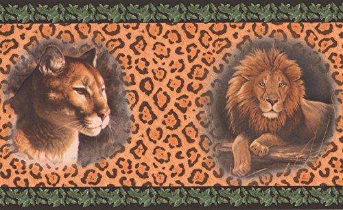Lion Jaguar Pictures on Leopard Print Wall Orange Animal Wallpaper Border Retro Design, Roll 15' x 7''